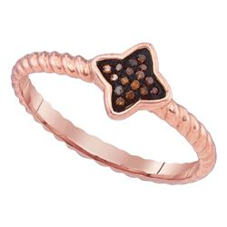 1/20 CTW Red Color Enhanced Diamond Cluster Unique Small Ring 10kt Rose Gold - REF-9H6W