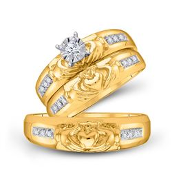 1/8 CTW His & Hers Round Diamond Claddagh Matching Bridal Wedding Ring 10kt Yellow Gold - REF-39H5W