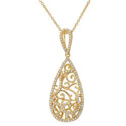 0.48 CTW Diamond Necklace 14K 2Tone Gold - REF-39K9W