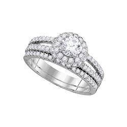 1 & 1/2 CTW Round Diamond Halo Bridal Wedding Engagement Ring 14kt White Gold - REF-275W9F
