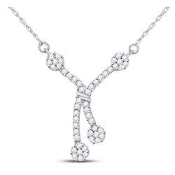 1/2 CTW Round Diamond Dangle Flower Cluster Fashion Necklace 14kt White Gold - REF-51R5H