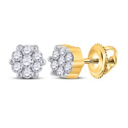 1/6 CTW Round Diamond Flower Cluster Earrings 14kt Yellow Gold - REF-14M4A