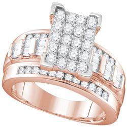 1 CTW Round Diamond Cluster Bridal Wedding Engagement Ring 10kt Rose Gold - REF-63X3T