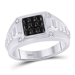 1/2 CTW Mens Round Black Color Enhanced Diamond Square Cluster Ribbed Shank Ring 10kt White Gold - R