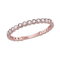 1/5 CTW Round Diamond Bezel Set Stackable Ring 10kt Rose Gold - REF-14Y4X