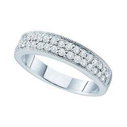 1/2 CTW Round Diamond Double Row Milgrain Ring 14kt White Gold - REF-54M3A
