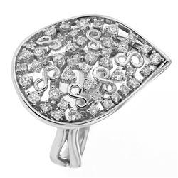 0.95 CTW Diamond Ring 18K White Gold - REF-143R9K
