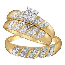 1/10 CTW His & Hers Round Diamond Cluster Matching Bridal Wedding Ring 14kt Yellow Gold - REF-30H3W
