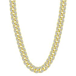 13 & 1/5 CTW Mens Round Diamond Cuban Link Chain Necklace 10kt Yellow Gold - REF-1140M3A