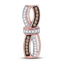 1/4 CTW Round Brown Diamond Bound Fashion Pendant 10kt Rose Gold - REF-18H3W
