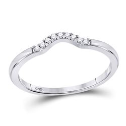 1/20 CTW Round Diamond Contoured Solitaire Enhancer Wedding Ring 10kt White Gold - REF-9A3N