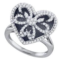 1/2 CTW Round Diamond Black Rhodium Heart Ring 10kt White Gold - REF-51W5F