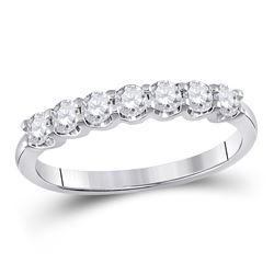 1/2 CTW Round Diamond Anniversary Ring 14kt White Gold - REF-47F9M