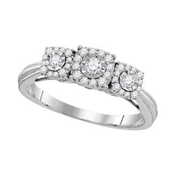 1/2 CTW Round Diamond 3-stone Bridal Wedding Engagement Ring 10kt White Gold - REF-27A5N