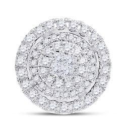 1/2 CTW Princess Diamond Fashion Halo Cluster Pendant 14kt Yellow Gold - REF-45X3T