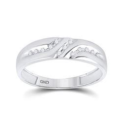 1/8 CTW Mens Round Diamond Wedding Ring 10kt White Gold - REF-11A9N