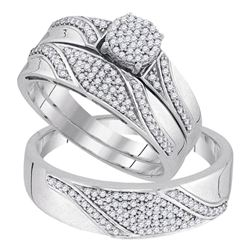 1/2 CTW His & Hers Round Diamond Cluster Matching Bridal Wedding Ring 10kt White Gold - REF-54A3N