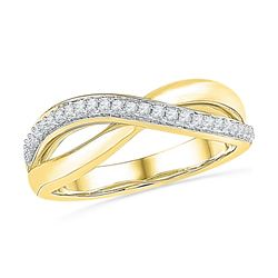 1/10 CTW Round Diamond Crossover Ring 10kt Yellow Gold - REF-19M2A