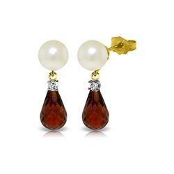 Genuine 6.6 ctw Pearl, Garnet & Diamond Earrings 14KT Yellow Gold - REF-27H6X