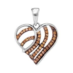 1/4 CTW Round Brown Diamond Striped Heart Pendant 10kt White Gold - REF-11F9M