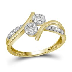 1/3 CTW Round Diamond Double Cluster Bridal Wedding Engagement Ring 14kt Yellow Gold - REF-33K3R
