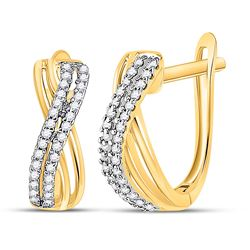 1/5 CTW Round Diamond Hoop Earrings 10kt Yellow Gold - REF-16M8A