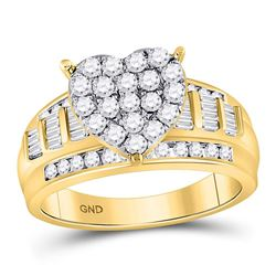 1 CTW Round Diamond Heart Cluster Bridal Wedding Engagement Ring 10kt Yellow Gold - REF-60W3F