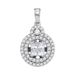 7/8 CTW Princess Diamond Cluster Circle Frame Pendant 14kt White Gold - REF-90X3T