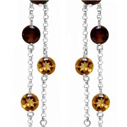 Genuine 8.99 ctw Garnet & Citrine Earrings 14KT White Gold - REF-101W2Y