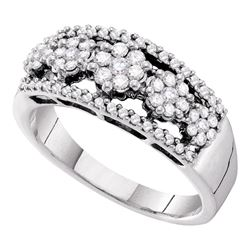 1/2 CTW Round Diamond Flower Cluster Cocktail Ring 14kt White Gold - REF-57M5A