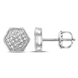 1/10 CTW Mens Round Diamond Hexagon Cluster Stud Earrings 10kt White Gold - REF-11R4H