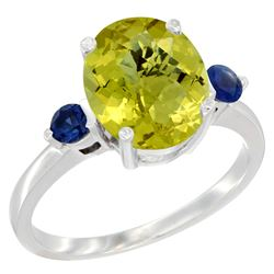 2.64 CTW Lemon Quartz & Blue Sapphire Ring 10K White Gold - REF-23X7M