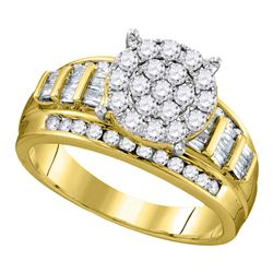 2 CTW Round Diamond Cindys Dream Cluster Bridal Wedding Engagement Ring 10kt Yellow Gold - REF-113H9