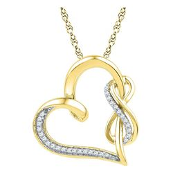 1/8 CTW Round Diamond Linked Heart Infinity Pendant 10kt Yellow Gold - REF-18F3M