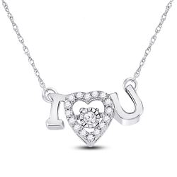 1/10 CTW Round Diamond I Love U Heart Pendant 14kt White Gold - REF-18K3R