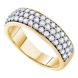 1 CTW Round Pave-set Diamond Triple Row Wedding Ring 10kt Yellow Gold - REF-65W9F