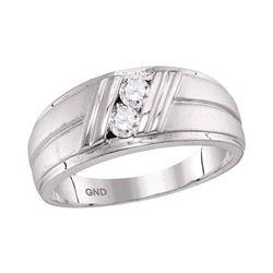 1/3 CTW Mens Round Diamond 2-Stone Wedding Anniversary Ring 10kt White Gold - REF-47H9W