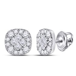 1/4 CTW Princess Round Diamond Square Cluster Earrings 14kt White Gold - REF-24A3N