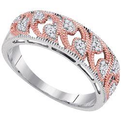1/10 CTW Round Diamond 2-tone Rose Ring 10kt White Gold - REF-15T5K