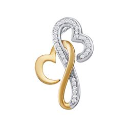 1/10 CTW Round Diamond Double Locked Heart Pendant 10kt Two-tone Gold - REF-10N8Y