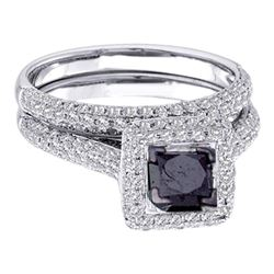 1 & 1/4 CTW Princess Black Color Enhanced Diamond Bridal Wedding Set 14kt White Gold - REF-63R3H