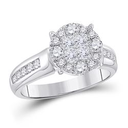 1 CTW Princess Diamond Cluster Bridal Wedding Engagement Ring 14kt White Gold - REF-95K9R
