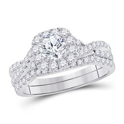 1 CTW Round Diamond Bridal Wedding Engagement Ring 14kt White Gold - REF-143N9Y