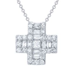 0.69 CTW Diamond Necklace 18K White Gold - REF-72W2H