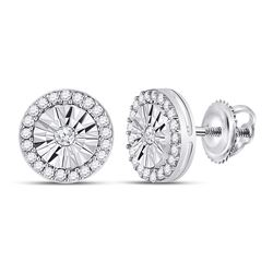 1/3 CTW Round Diamond Circle Miracle Stud Earrings 10kt White Gold - REF-20N3Y
