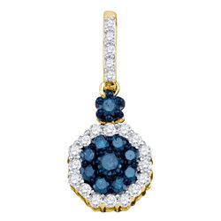 1/2 CTW Round Blue Color Enhanced Diamond Cluster Pendant 10kt Yellow Gold - REF-21R5H