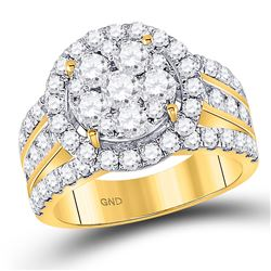 3 CTW Round Diamond Cluster Bridal Wedding Engagement Ring 14kt Yellow Gold - REF-215M9A