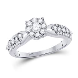 5/8 CTW Round Diamond Cluster Bridal Wedding Engagement Ring 10kt White Gold - REF-39K3R