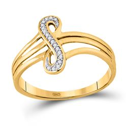 1/20 CTW Round Diamond Vertical Infinity Strand Ring 10kt Yellow Gold - REF-11K9R