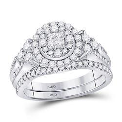 1 CTW Princess Diamond Bridal Wedding Engagement Ring 14kt White Gold - REF-101Y9X